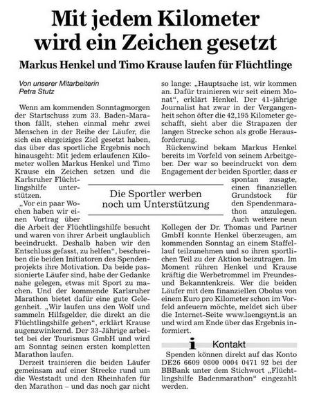 Die Badischen Neusten Nachrichten über den Spendenmarathon in Karlsruhe.