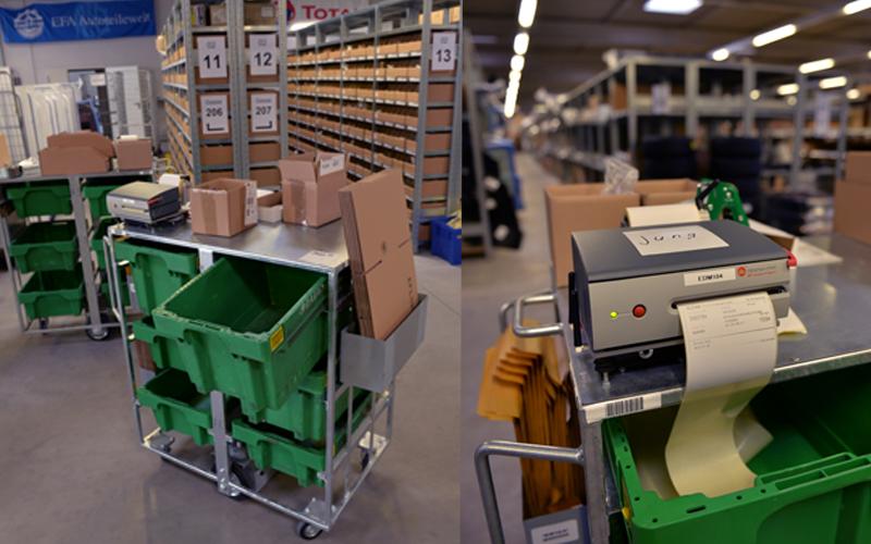 Alt Kommissionierwagen inklusive Drucker von der Emil-Frey-Gruppe.