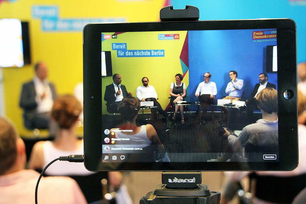 Live-Streaming auf Facebook - der Event rund ums die urbane Logistik wurde natürlich von der FDP aufgezeichnet.