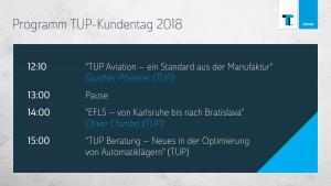 Das Programm vom TUP-Kundentag 2018 nach der Mittagspause.