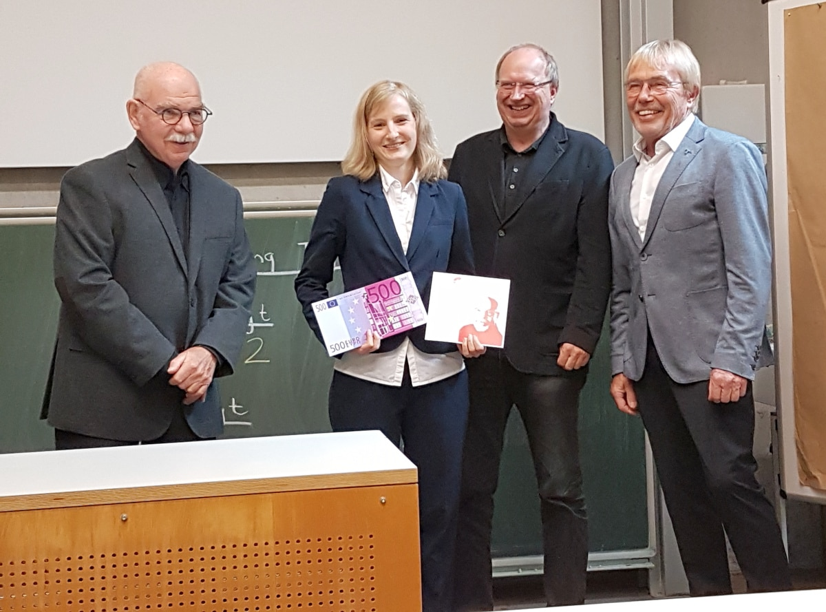 Preisverleihung Dieter Arnold Preis mit Dieter Arnold, Uta Möhring, Professor Dr. Frank Thomas, Kai Furmans